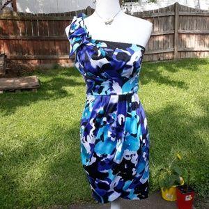 Bisou Bisou blue wrap style one shoulder dress